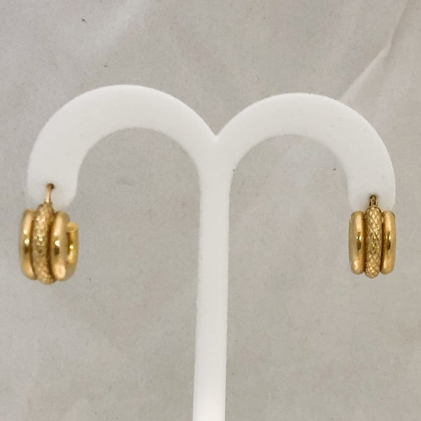 14K Yellow Gold Huggie Earrings, Two Textures    CE0056