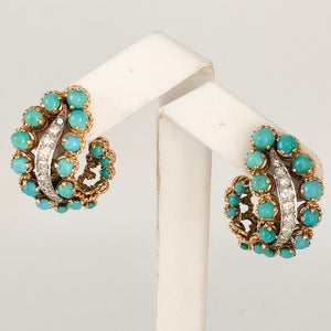 Beautiful 18K French Persian Turquoise DIamond Clip Earrings CE0015