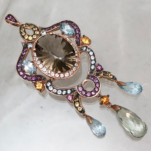 LeVian 14K Rose Gold Chandelier Pendant with Large Oval Topaz, Blue Stones, Briolettes, White/Chocolate Diamonds, Pink Stones    CPEND0014