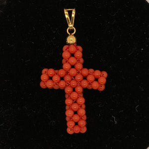 18K Yellow Gold Coral Bead Cross  CPEND0034