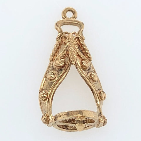 14K Yellow Gold White Horse Collection 15th Century Italian Charm   WHC0017