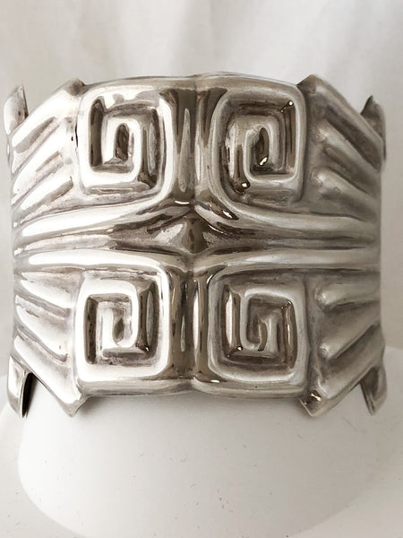 Sterling Silver Marked 925 and Mexico Wide Bracelet  CB0054