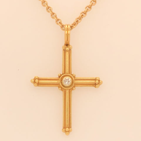 Handmade Etruscan Style Cross with Diamond Necklace  CN0062