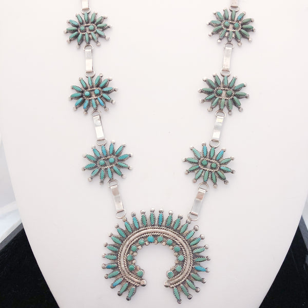 Sterling Silver Zuni Needlepoint Squash Blossom Necklace  CN0059