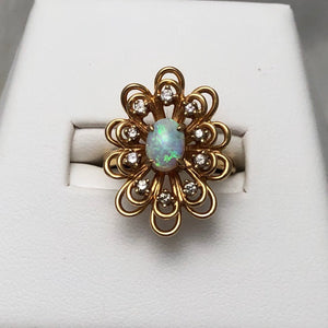 14K Yellow Gold Oval Opal Diamond Acct Loopy Floral Ring CR0080