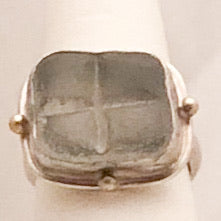 Sterling Silver Etched Glass Ring   CR0169