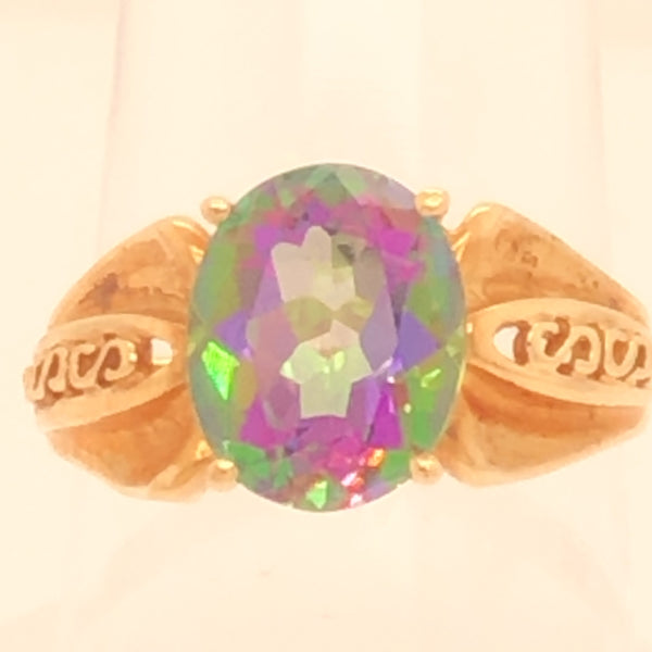 10K Yellow Gold Ornate Setting Mystic Topaz Ring  CR0191