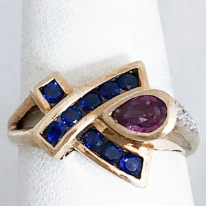 10K Yellow Gold Pear Ruby & Blue Sapphire Ring   CR0155
