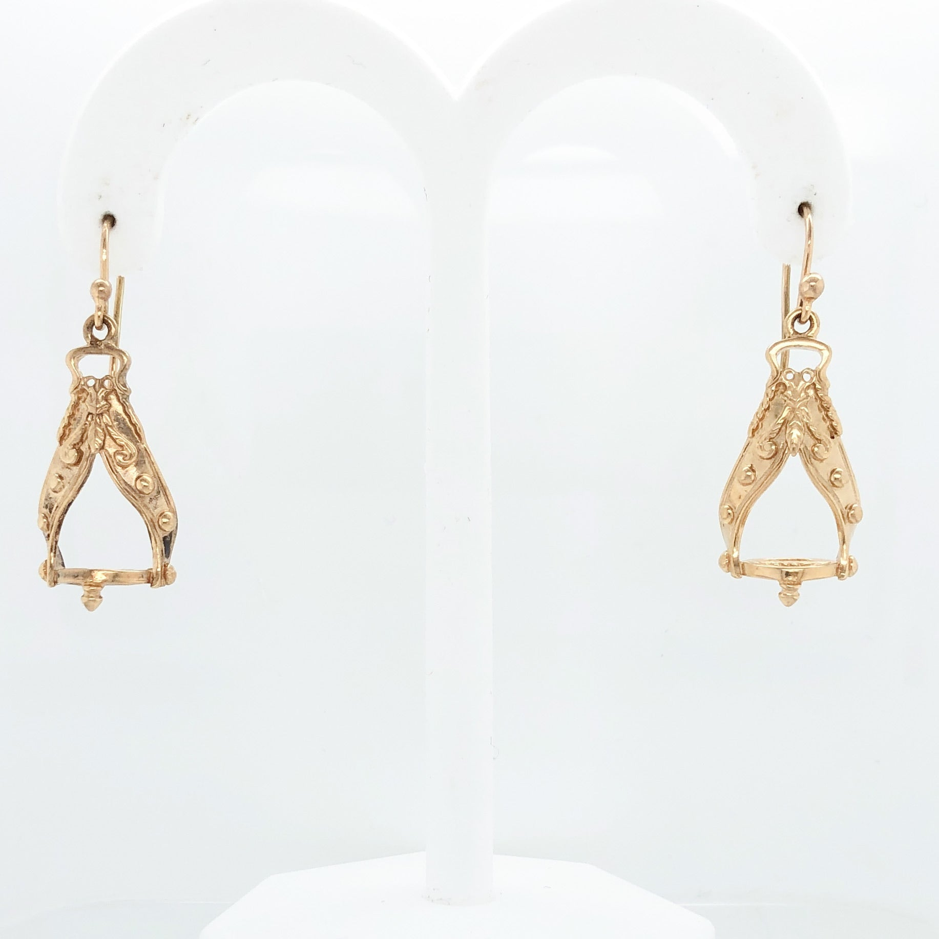 14K Yellow Gold White Horse Collection 15th Century Italian Stirrup Earrings   WHE0004