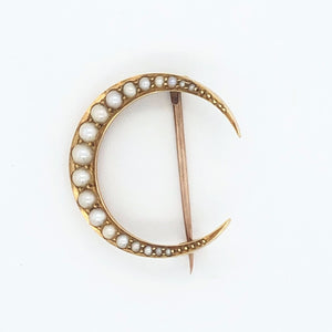 14K Yellow Gold Victorian Seed Pearl Crescent Moon Pin  CP0021