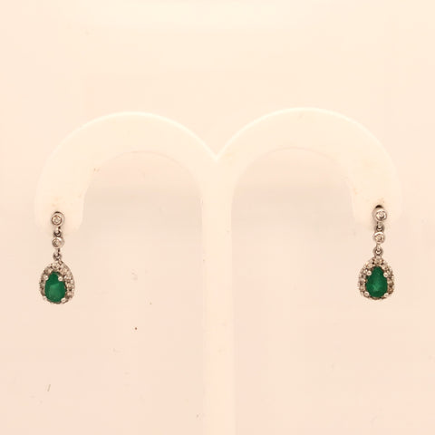 14K White Gold Emerald Dangle and Diamond Earrings  SI0300