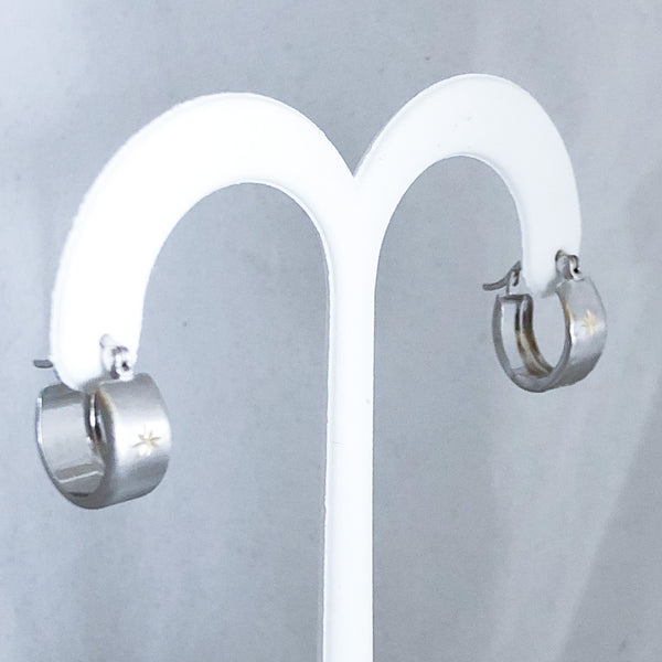 14K White Gold Light Huggy Earrings