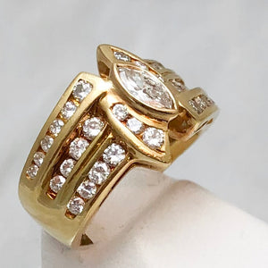 18K  Yellow Gold Marquise Diamond in Center, Channel Accents and on Shank    CR0101