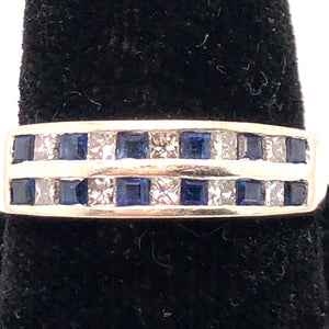 14K White Gold Diamond and Blue Stone Band Ring  CR0209