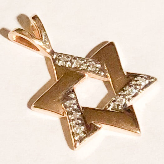 14K Yellow Gold Star of David Pendant with Clear Stone Accents   CPEND0018