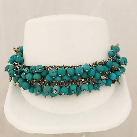 Sterling Silver Double Strand of Turquoise Beads Bracelet   CB0036
