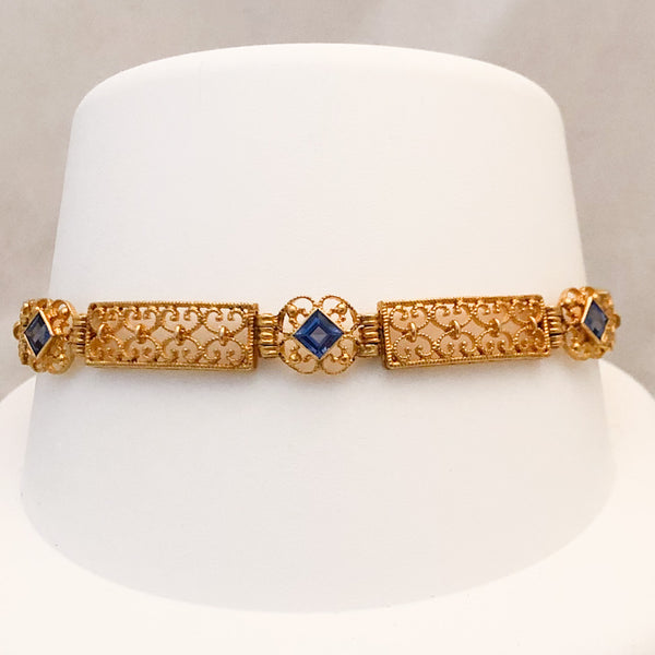 14K Yellow Gold Filigree Link Bracelet with Blue Stones   SI0112