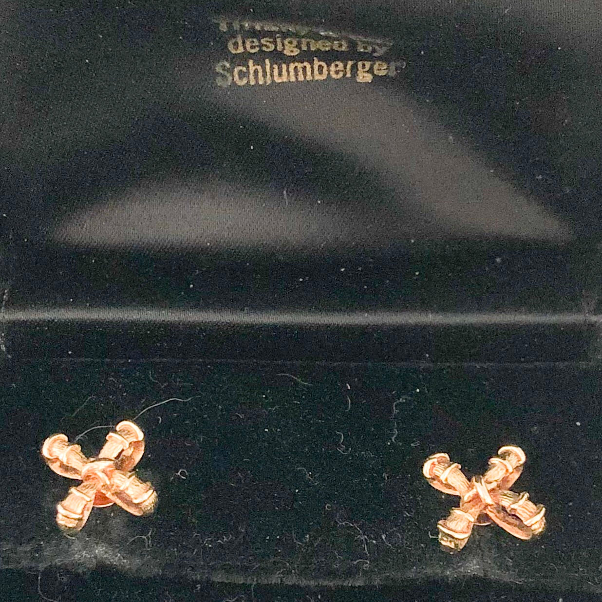 Tiffany Schlumberger 18K Yellow Gold Textured Cross Earrings CE0016