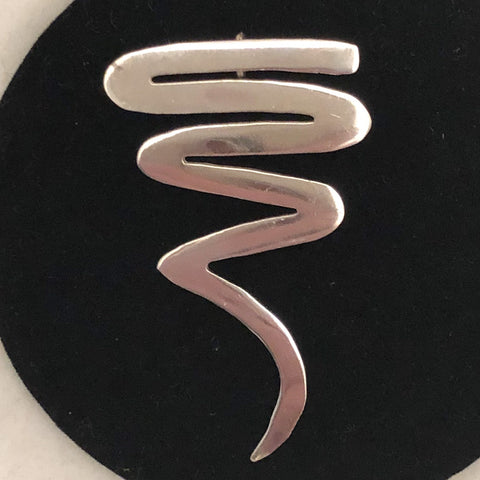 Sterling Silver 1980's Squiggle Pin/Pendant   SI0149