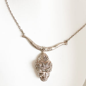 Silver Lion Necklace Silver Plated Chain    CN0053