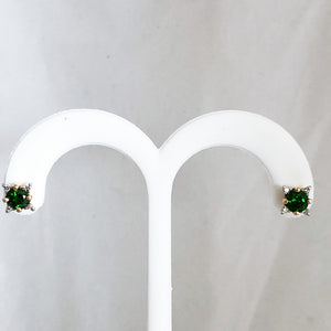 14K Yellow Gold 1.60 cttw Green Chrome Diopside & Diamond Stud Earrings   CE0094