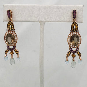 LeVian 14K Rose Gold Chandelier Earrings with Large Oval Topaz, Blue Stones, Briolettes, White/Chocolate Diamonds, Pink Stones     CE0049