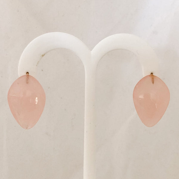 14K Yellow Gold Rose Quartz Leaf Shaped Designer Ted Muehling Earrings   CE0074