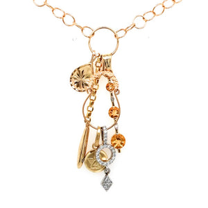 Yellow Gold/White Gold Citrine & Diamond Friendship Charm Necklace  CX0032