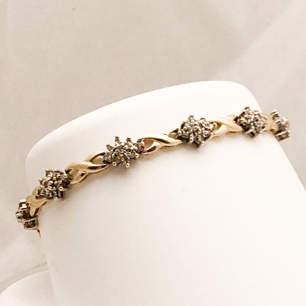 14K Yellow Gold Link Bracelet with Diamonds   CB0052