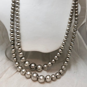 SS Double Strand Graduated Bead Necklace    CN0035