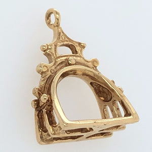 14K Yellow Gold White Horse Collection 16th Century Rajasthani Stirrup Charm   WHC0018