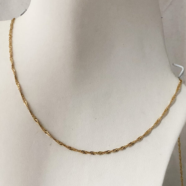 "14K Yellow Gold Twisted Chain 18""  SI1084"
