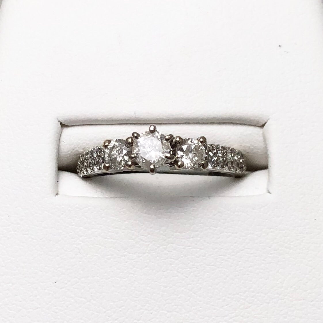 14K White Gold 3 Diamond Ring with Diamond Accents on Shanks  CR0073