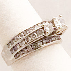 14K White Gold Three Band Diamond Ring   CR0170