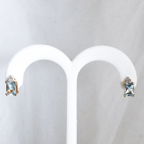 14K Yellow Gold 1.40 cttw Aquamarine & Diamond Stud Earrings   CE0088