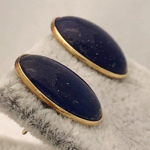 14K Yellow Gold Oval Lapis Stud Earrings   CE0111
