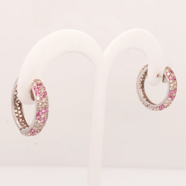 18K White Gold Diamond and Pink Sapphire Hoop Earrings  CE0128