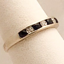 14K White Gold Sapphire Diamond Band   CR0166