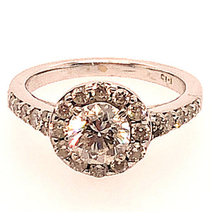 14K White Gold Diamond Halo Engagement Ring  CR0210