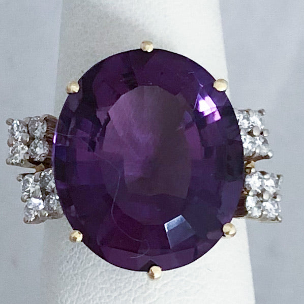 14K Yellow Gold Large Amethyst & Diamond Ring   CR0135