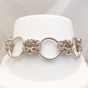 Sterling Silver Large Circle Chain Bracelet   JSI0120