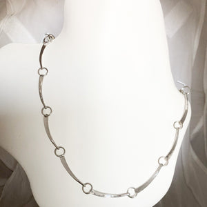 Sterling Silver Hand Forged Circle & Link Necklace   SI0136
