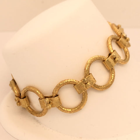 Handmade 18K Yellow Gold Decorated Round Link Bracelet  CB0059