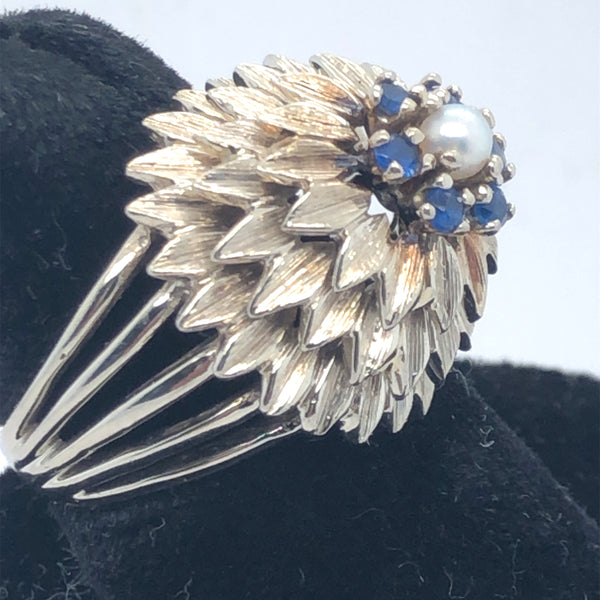 14K White Gold Diamond Hive Ring with Sapphires and Pearl  CR0202
