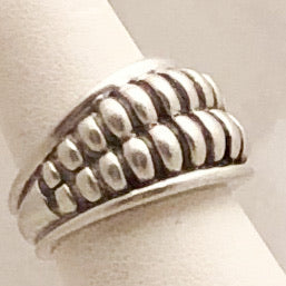 Sterling Silver Double Rib Dome Kielselstein-Cord Ring   CR0168