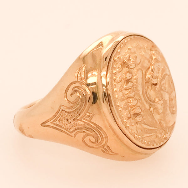 "Handmade14K Yellow Gold Replica ""Alexander"" Coin Ring  CR0194"