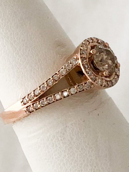 14K Rose Gold @5mm Round Cognac Diamond Halo Ring  CR0182
