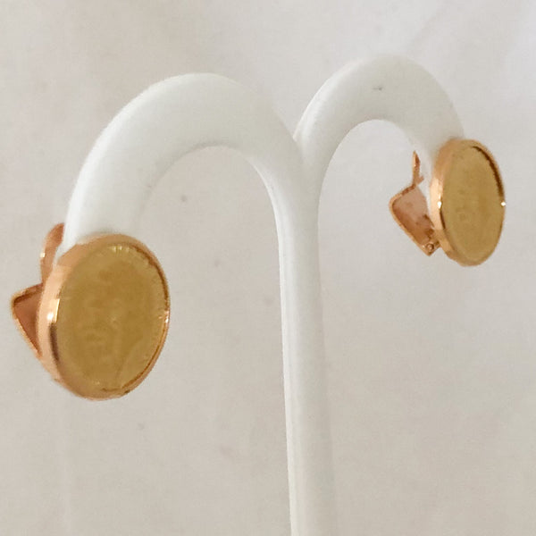 "18K Yellow Gold Round Greek ""Coin"" Earrings   CE0078"