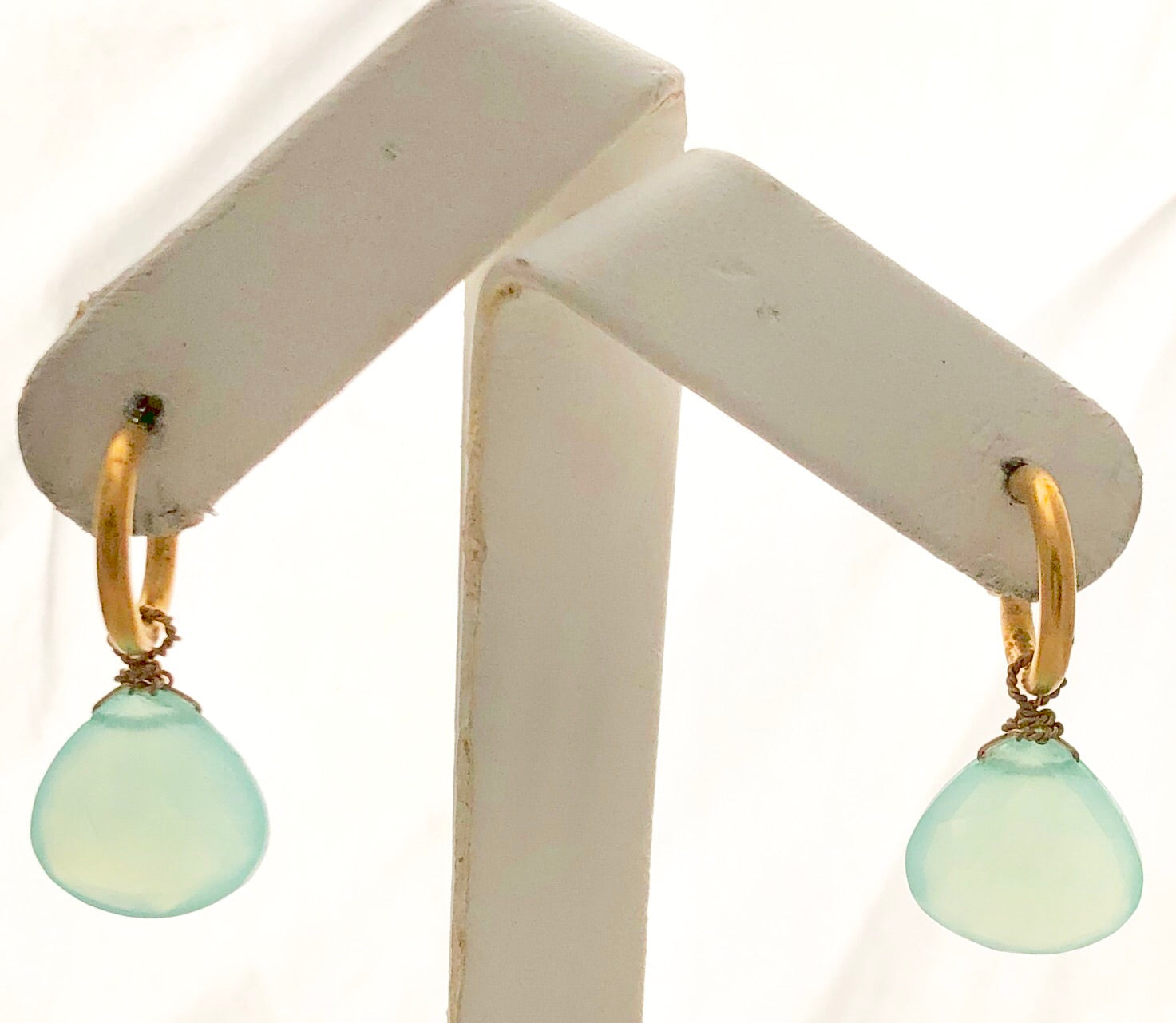 Vermeil Blue Chalcedony Squat Hoop Earrings -  CE0022