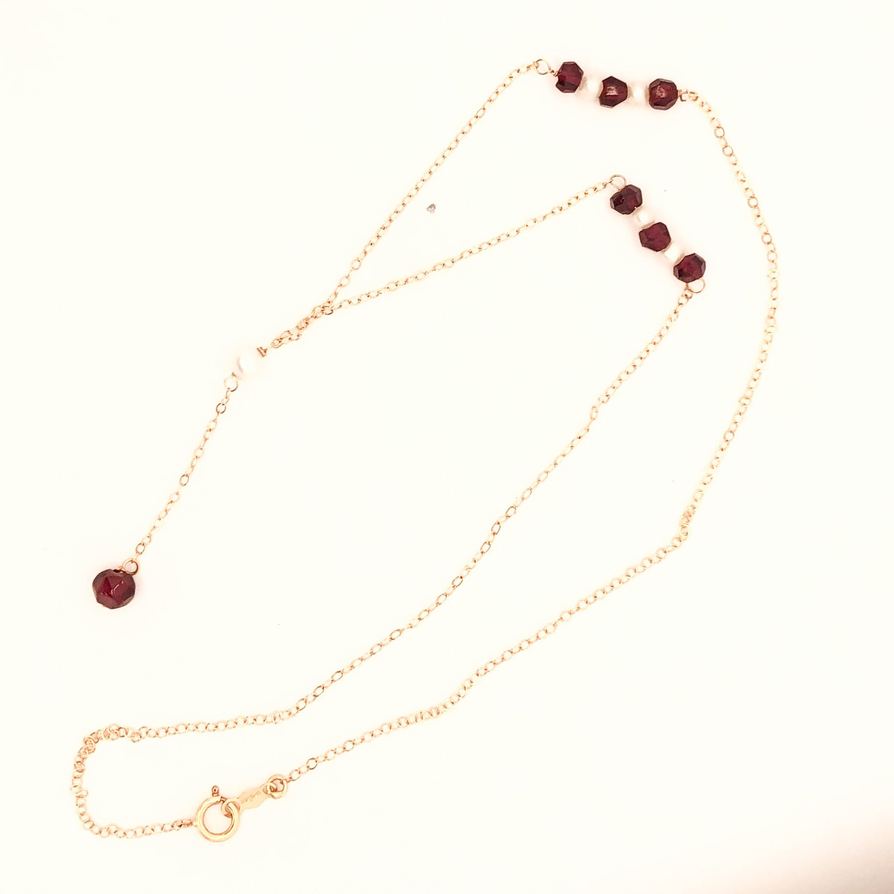 14K Yellow Gold Garnet and Pearl Necklace  CN0061